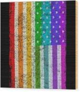 Rainbow Us Flag Wood Print