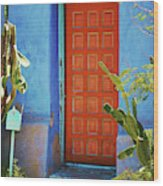 Red Door Adobe Wood Print