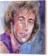 Robin Gibb Portrait Wood Print