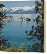 Rocks In A Lake With Mountain Range Wood Print