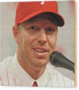 Roy Halladay Press Conference Wood Print