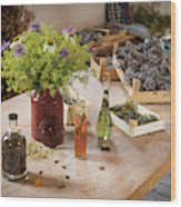 Rustic Wooden Table With Various Herbs And Flowers Wood Print