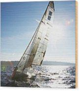 Sailboat In Sea Wood Print