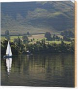 Sailboat On Ullswater In The Lake Wood Print