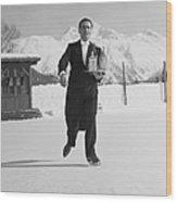 Skating Waiter Wood Print