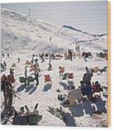 Skiers At Verbier Wood Print