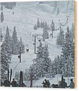 Skiing In Vail Wood Print