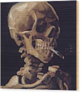 Skull With Cigarette  Wood Print
