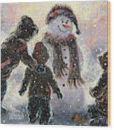 Snowman And Three Boys Wood Print