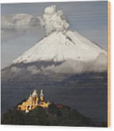Snowy Volcano And Church Wood Print