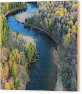 Springtime On The Manistee River Aerial Wood Print