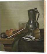 Still Life With Tobacco  Wine And A Pocket Watch  Wood Print