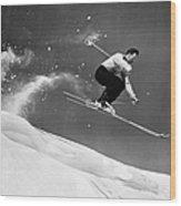 Sun Valley Skier Wood Print