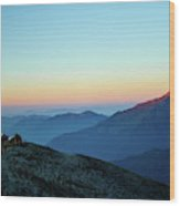 Sunrise Above Mountain In Valley Himalayas Mountains Mardi Himal Wood Print