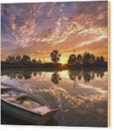 Sunset Boat Wood Print