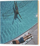 Swimmer And Sunbather Wood Print