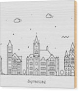 Syracuse, New York Cityscape Travel Poster Wood Print