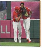 Texas Rangers V Los Angeles Angels Of 1 Wood Print