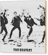 The Beatles Black And White Watercolor 01 Wood Print