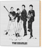 The Beatles Black And White Watercolor 02 Wood Print