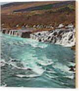 The Beautiful Cascades Of Hraunfossar In Iceland. Wood Print