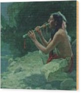 The Call Of The Flute Wood Print