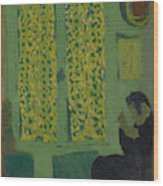 The Green Interior  Figure Seated By A Curtained Window   Wood Print