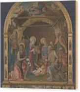 The Nativity With Saints Altarpiece  Wood Print