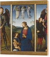 Three Panels From An Altarpiece  Certosa  Wood Print