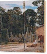 Tightening The Saddle Wood Print