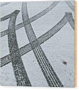 Tire Tracks In Snow, Winter Wood Print