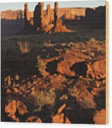 Totem Pole Formation At Sunset Wood Print