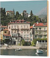 Town In The Shore Of Lake Como Wood Print