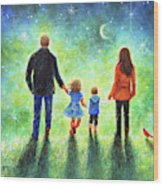 Twilight Walk With Mom And Dad Wood Print
