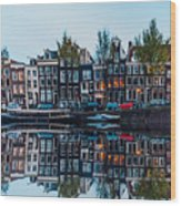 Typical Dutch Houses Reflections Wood Print