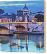 Vatican Dome And Tiber River, Ponte Wood Print