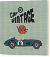 Vector Vintage Sport Racing Car Wood Print
