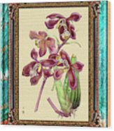 Vintage Orchid Antique Design Marble Caribbean-blue Wood Print