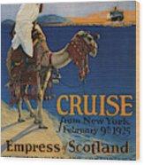 Vintage Poster -  Mediterranean Cruises Wood Print