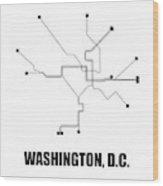 Washington, D.c. White Subway Map Wood Print