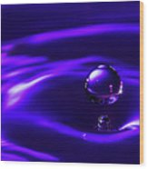 Water Drop Falling Into Water Wood Print
