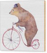 Watercolor Cartoon Bear On Retro Wood Print