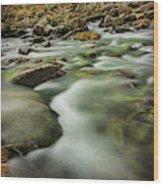 Winter River Rapids Wood Print