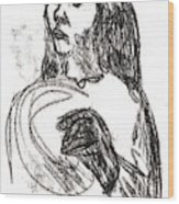 Woman Holding A Hat Wood Print