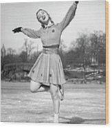Woman Ice Skating Wood Print