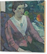 Woman In Front Of A Still Life By Cezanne Wood Print
