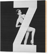 Woman With Huge Letter Z Wood Print