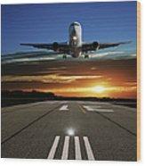 Xl Jet Airplane Landing At Sunset Wood Print