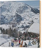 Zermatt Skiing Wood Print