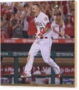 Houston Astros V Los Angeles Angels Of 10 Wood Print